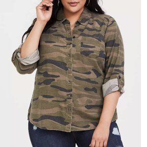 Torrid Taylor Camo Button Front Relaxed Blouse 3X